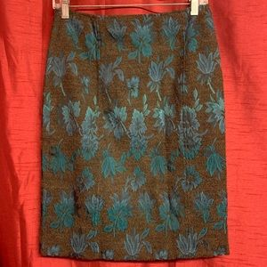 Dresses & Skirts - Brown and Blue Floral Skirt Size 6